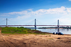 Murom bridge through Oka River Royalty Free Stock Images