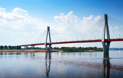 Murom cable bridge through Oka royalty free stock images