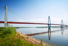 Murom cable bridge through Oka River Stock Photo