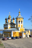 Murom, Russia, May, 02, 2013.  Cars near the church of St. Nicholas the Wonderworker in Murom, 18th century Stock Photo
