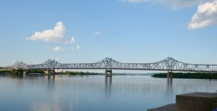 Murray Baker Bridge. This is a Summer picture of the Murray Baker Bridge located in Peoria, Illinois royalty free stock images