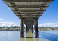 Under Cement and Metal Framed Road Bridge, Murray River, Murray Royalty Free Stock Image
