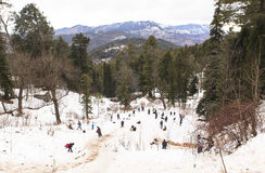 Murree in winter, Pakistan. This photo is taken in Murree, Pakistan. Murree is a colonial era town located on the Pir Panjal Range within the Murree Tehsil stock photos