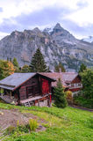 Murren in the swiss Alps. Murren  in the swiss Alps, in a valley with rural houses, in the background are mountains  on a cloudy day.It´s a vertical picture Royalty Free Stock Images