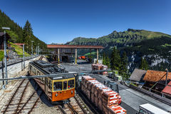 Murren Train Station. Train station at the Swiss mountain village of Murren, in the Bernese Oberland region of Switzerland Stock Photography