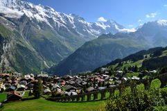 Murren Village, Switzerland. A View of the charming village of  Murren in Switzerland Royalty Free Stock Images