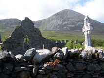 Murrisk Friary with Croagh Padraig Stock Photo