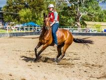 Murrurundi,NSW,澳大利亚,2018年2月24日:在范围无鞍自由式竞争的国王的竞争者 免版税库存照片