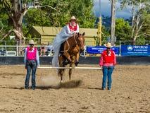 Murrurundi,NSW,澳大利亚,2018年2月24日:在范围无鞍自由式竞争的国王的竞争者 库存图片