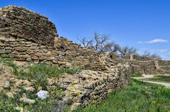 Murs antiques et un chemin au passé avec des places des fleurs jaunes sous un ciel bleu Photographie stock libre de droits