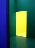Murs bleus, verts et jaunes photographie stock libre de droits