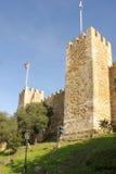 Murs défensifs. Château de sao Jorge.  Lisbonne. Portugal images stock