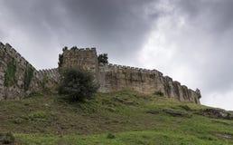 Murs défensifs de la forteresse de Monterreal photo libre de droits