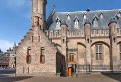 Murs de briques de secteur du 13ème siècle de Binnenhof et de bureau du premier ministre ville historique de Pays-Bas, la Haye image stock