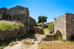 Murs de château d'Angelokastro Photographie stock