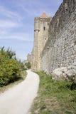 Murs de château de Carcassone Photos libres de droits