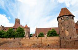 Murs de château de Malbork Images stock