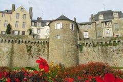 Murs de château de Medival derrière les fleurs rouges Image stock