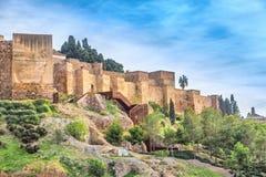 Murs de forteresse d'Alcazaba à Malaga photographie stock