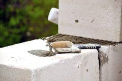 Murs de maçonnerie de béton aéré Photographie stock