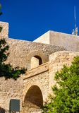 Murs de Santa Barbara Castle dans Alicante, Espagne Images stock