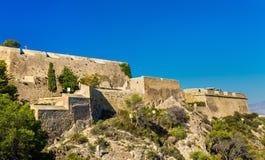 Murs de Santa Barbara Castle dans Alicante, Espagne Photo libre de droits
