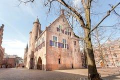 Murs de secteur du 13ème siècle de Binnenhof et de bureau du premier ministre ville historique de Pays-Bas, la Haye photos stock