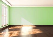 Murs de vert dans la salle vide avec la fenêtre rendu 3d illustration libre de droits