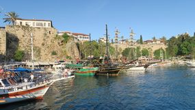 Murs de ville au port d'Antalya, en Turquie Photo stock