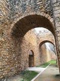 Murs en pierre féodaux de château à Faro Portugal photo stock
