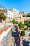 Murs et baileys de fortification au centre de la ville historique de Litomerice, République Tchèque images libres de droits