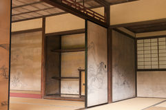 Murs intérieurs japonais de maison décorés par Tanyu Kano Images libres de droits