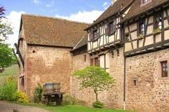 Murs médiévaux de ville de Riquewihr, France Photographie stock