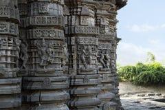 Murs ornement?s, temple de Daitya Soudan, Lonar, secteur de Buldhana, maharashtra, Inde photographie stock