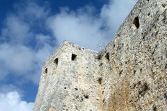 Murs romains antiques de diplômé de Stari - 2500 années (Monténégro, Ulcinj, hiver) photographie stock libre de droits