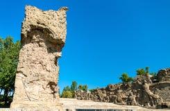 Murs ruinés avec en haut relief sur la colline de Mamayev à Volgograd, Russie photos stock