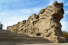 Murs ruinés Mamayev complexe commémoratif Kurgan à Volgograd photographie stock
