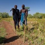 Mursi全国礼服的部落人 免版税图库摄影