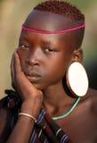 Mursi girl in South Omo, Ethiopia Stock Image