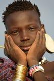 Mursi girl in South Omo, Ethiopia Stock Images