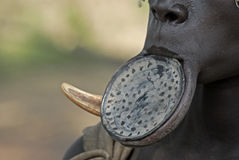Mursi Lip Plate. Women of the Mursi tribe in South Ethiopia wear a clay lip plate as a body ornament stock image