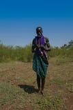 Mursi plemienia kobieta - 05 2012 Październik, Omo dolina, Etiopia Obrazy Royalty Free