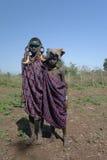 Mursi tribe girls - 05 october 2012, Omo valley, Ethiopia Royalty Free Stock Photo