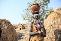 Mursi Tribe man stock image