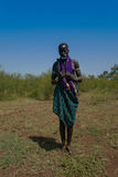 Mursi tribe woman - 05 october 2012 , Omo valley, Ethiopia Royalty Free Stock Images