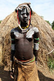 Mursi tribe woman. Mursi tribes woman. Ethiopia, Omo Valley, Africa 2009 Royalty Free Stock Image