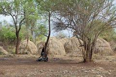 Mursi village Ethiopia. Mursi village, Ethiopia. Mursi are a Nilotic pastoralist ethnic group that inhabits southwestern Ethiopia Stock Photos