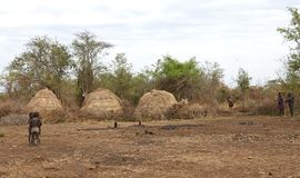 Mursi village Ethiopia Stock Image