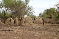 Mursi village Ethiopia Royalty Free Stock Photography