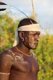 Mursi warrior in South Omo, Ethiopia Stock Photos